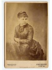 ANTIQUE CAB PHOTO OF A LADY W/ POSING STOOL FROM ST. PAUL, MINN, STUDIO