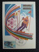 ANDORRA MK 1976 OLYMPIA OLYMPICS MAXIMUMKARTE CARTE MAXIMUM CARD MC CM c810