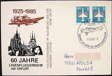 Erfurt 60 Jahre Linienflugverkehr SoSt auf Karte mit Zudruck 1985
