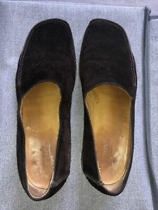 Hermes men's brown suede shoes
