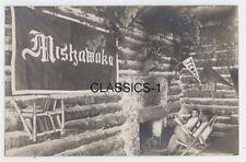 1909 RUSTIC LOG HOME CABIN LODGE RPPC PHOTO POSTCARD FIREPLACE COTTAGE AMERICANA