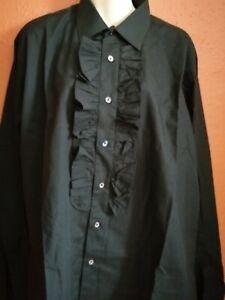 Goth/Dressy black frilled shirt by Rocola 16 collar