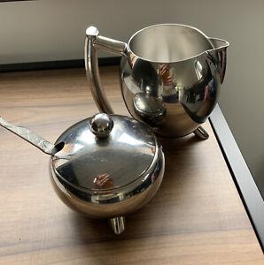 Stainless Steel Milk Jug, Sugar Bowl And Spoon Set