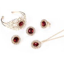 Fashion Crystal Jewelry Set Ruby Necklace Bracelet Earrings Rings Women Wedding