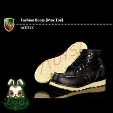 ACI Toys 1/6 ACI752-C Fashion Boots Moc Toe_ Black boots _Bid AT085C
