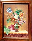 """Vintage Gem Stone Painting """" Vase & Flowers """" Handmade Collectible Wall Decor"""