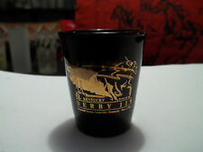 1993 Kentucky Derby Black 1.5 oz Shot Glass with Gold Solid Screen Logo - Rare!