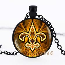 Fleur de lis necklace photo Glass Dome black Chain Pendant Necklace wholesale