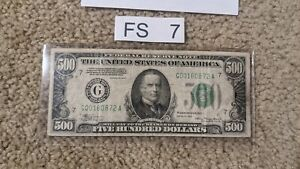 $500 Bill Five Hundred Dollar Federal Reserve Note 1934 Series