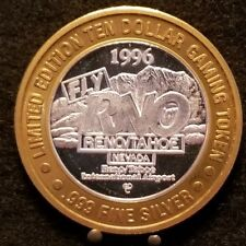 RENO/TAHOE INT. AIRPORT 1996 Silver Strike Casino Chip Ltd. Ed. Hot Air Balloon