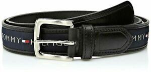 Tommy Hilfiger Men's 35MM Wide Ribbon Inlay Fashion Leather Belt Black