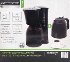 Tec Star Kaffeemaschine mit 2 Thermokanne, Filter Kaffeemaschine
