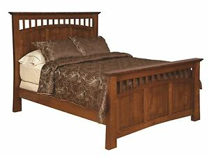 Amish Luxury Bridgeport Mission Bed Solid Wood Bedroom Furniture King Queen