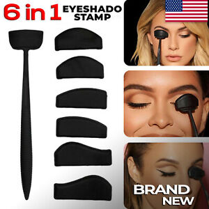 6 IN 1 NEW  Stamp Cut Crease Line Kit Eyeshadow Applicator Fixer Stencil Tool