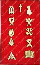MASONIC LODGE OFFICERS LAPEL JEWEL PINS BRASS GOLDEN PLATED - SET OF 11 BLOJS-11