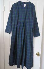 VT Country Store Green Mountain Blue Green Tartan Long Sl Flannel Maxi Dress 10
