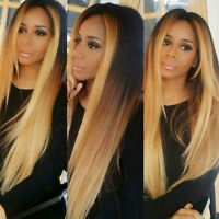 New Hot Women Ombre Black Blond Straight Synthetic Lace Front Wig Hair Full Wigs