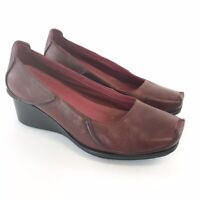 Clarks Active Air Ladies Size 39 UK6 Red Leather Slip On Court Wedge Heels Shoes