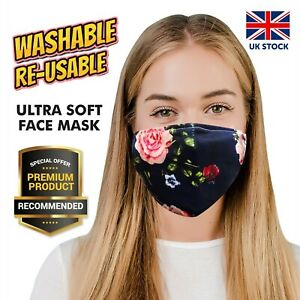 FACE MASK WITH FILTER GIRLS FLORAL SOFT COTTONBLEND BREATHABLE WASHABLE REUSABLE