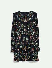 Zara Blue Full Embroidered Mini Dress, Size Small