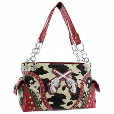 Red Two Gun Studded Cow Print Western Style Studded Purse