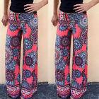 Womens Boho Long Pants Palazzo Flared Wide Leg Summer Yoga Baggy Loose Trousers
