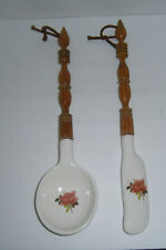 "Vintage Wood Spindle & Ceramic 17"" Spoon & Spatula Wall Hangings Wall Decor"