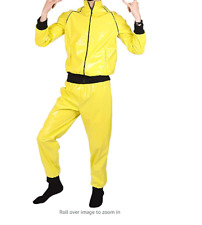 yellow pvc  Men's glanz silky wet look shiny  track Suit pants jacket
