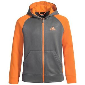 $50 adidas ClimaWarm Grey/Orange Hoodie FullZip Jacket Boys size S new
