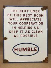 Humble Restroom Sign Vintage Porcelain Plate Gas Station Pump Oil Tire Esso
