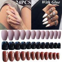 24pcs Acrylic Design False French Nails Full Nail tips Fake Art Cover Manicure