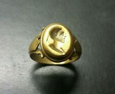 14K gold Antique style crest ring with unique shank