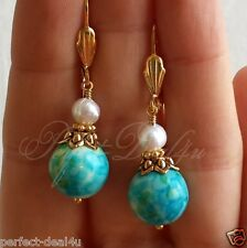 Blue White Green beads& White Natural Pearls Gold Plated Leverback Earrings