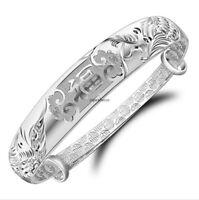 Fashion Jewelry Gift 925 Sterling Silver Adjust Cuff Charm Bangle Bracelet Chain