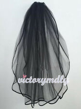 Black Short 2T Stain Edge Veil with Comb Bridal Gown Wedding Dress Gothic Style