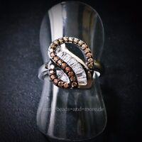 Padparadscha Quarz Baguette Weißtopas Designer Ring 925er rhodiniert 16,5 mm