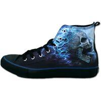 Spiral FLAMING SPINE Sneakers Men's High Top Laceup Biker/Rock/Skull/Shoes/Metal
