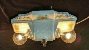 Vintage Porcelier Porcelain 2-Bulb Basketweave Ceiling Light Fixture, Rewired