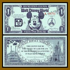 "Disney 1 Dollar (Recreation Coupon), 1972 ""A"" Series (Disney World) Uncirculated"