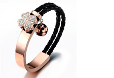 Half Black Double Strand Braided Leather Half Rose Gold Plated Bracelet with Clo