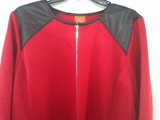Womens Sz 16 Red Jacket Blazer Zipper Quilted Polyester Faux Leather Zipper Fnt