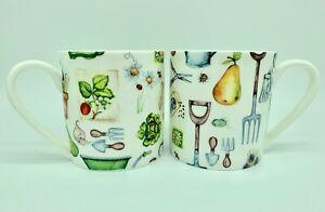 """Pair of Large 1pt Bone China Mugs In the """"Gardening"""" Design"""