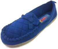 Moonbeams Womens Dark Blue Quilted Moccasin Slippers Soft Fuzzy Micro Terry 7