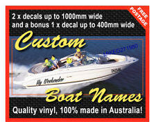 Custom Boat Name Decals Vinyl 1000mm Set of 3 Incl free transom sign JAN SALE