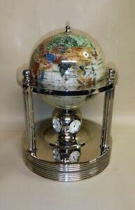 Gemstone World Globe ~ Clock ~ Hygrometer ~ Thermometer ~ Rotating Base