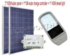 40W 12V LED Street Lamp System Kit 2*100W Poly Solar Panel+15A Controller Yard