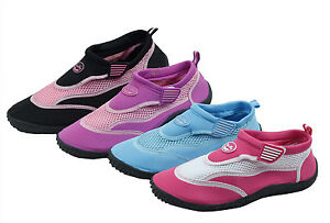 Women's Water Shoes Aqua Socks Slip on Hook and Loop Exercise Pool Yoga 4 Colors