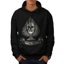 Wellcoda Spades Skull Card Gamble Mens Hoodie, Card Casual Hooded Sweatshirt