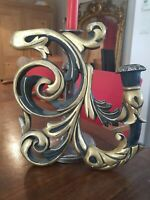Ancienne applique en bois doré Napoléon III, bougeoir, élément de lustre XIX ème