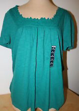 Woman's St. John's Bay Turquoise / Teal Short Sleeve Square Neck 1X New W/Tag